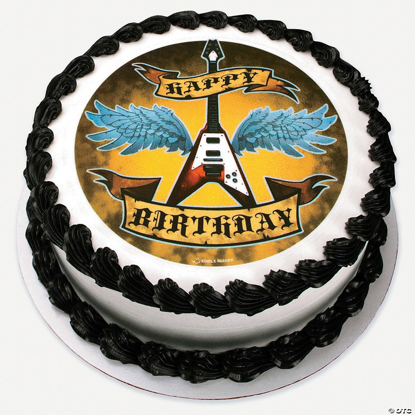 Rock Star Birthday Edible Image Cake Decoration Discontinued