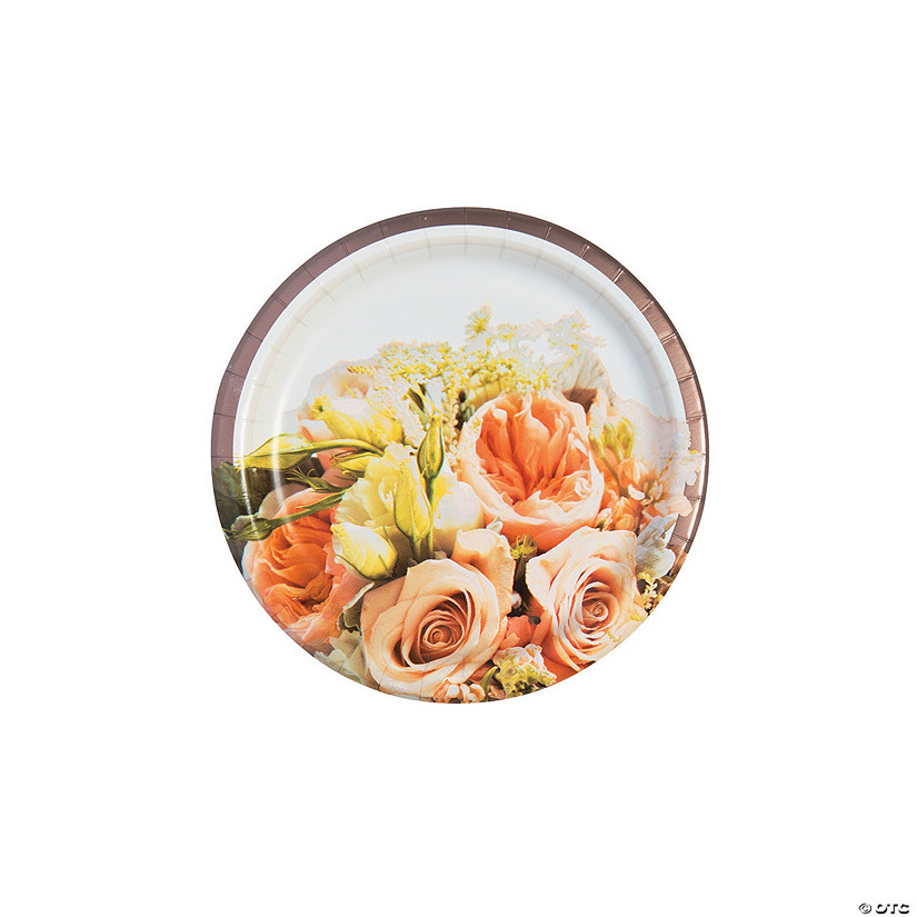 Rose Gold Bouquet Paper Dessert Plates