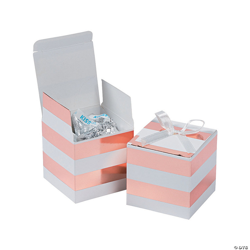 Rose Gold Foil & White Stripe Favor Boxes with Bow