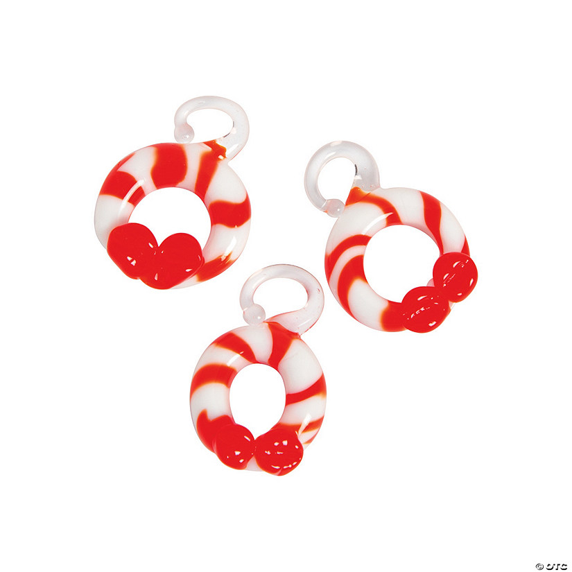 Round Candy Cane Premium Glass Charms
