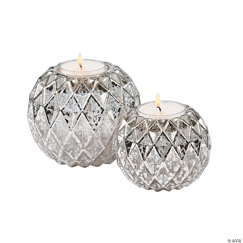 Round Silver Textured Candle Holders