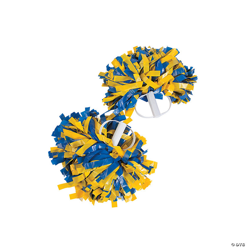 Royal Blue & Gold Spirit Show Pom-Poms