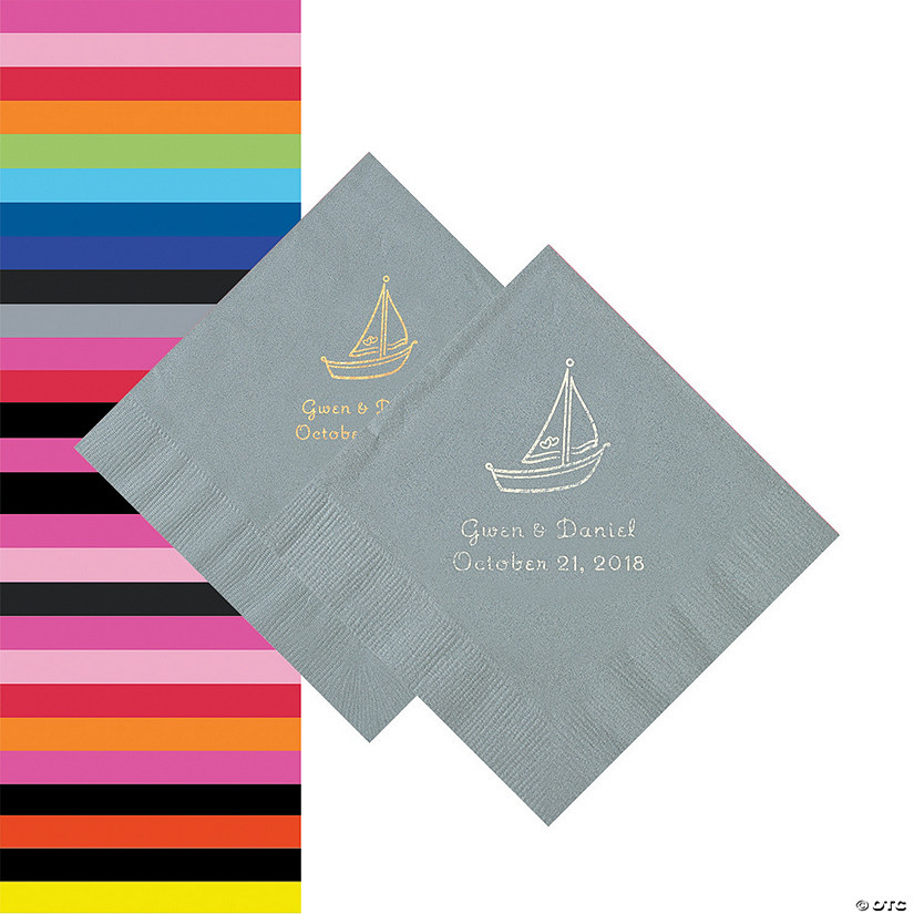 Sailboat Personalized Napkins - Beverage or Luncheon