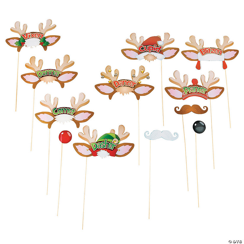 Santa's Reindeer Photo Stick Props