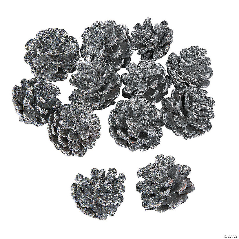Silver Glitter Pinecone Assortment
