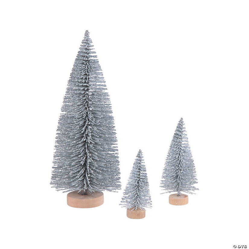Silver Glitter Sisal Tree Assortment