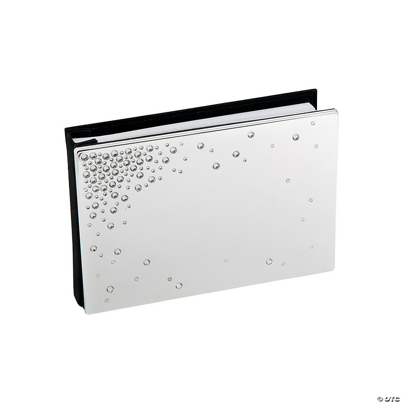 Silver-Plated Guest Book with Crystals