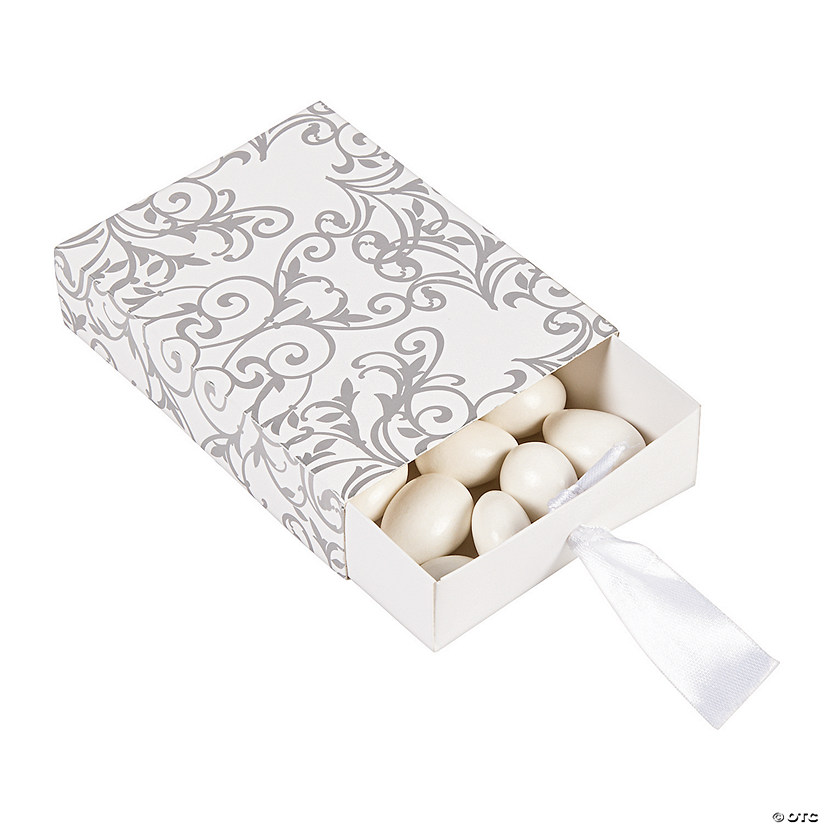 Silver Wedding Pull Favor Boxes