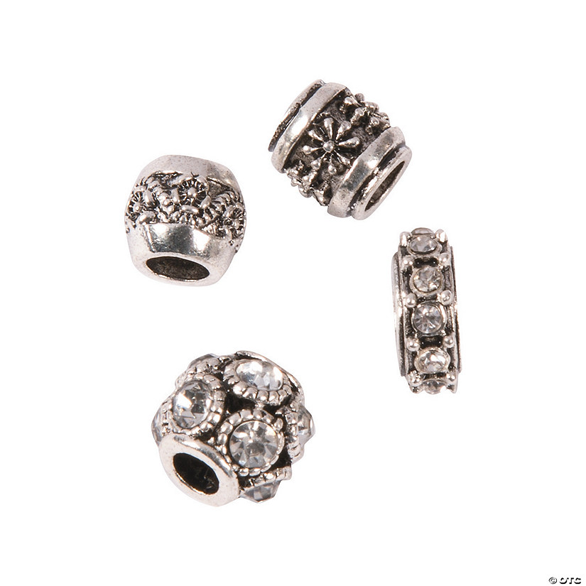 Silvertone & Rhinestone Large Hole Beads