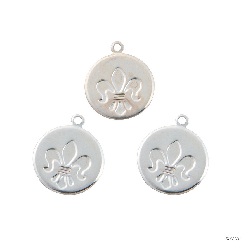 Silvertone Fleur De Lis Coin Charms