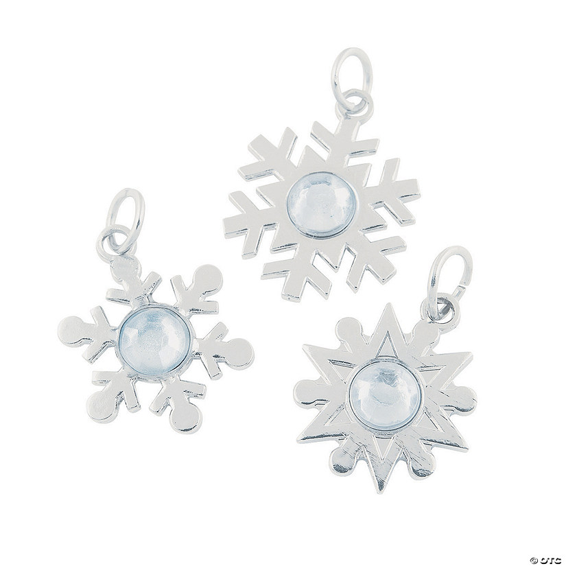 Silvertone Snowflake Charms with Rhinestone
