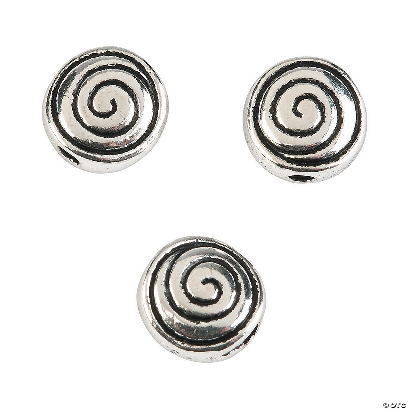 Silvertone Swirl Beads - 8mm