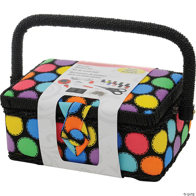 Singer Sewing Basket- Bright Dots