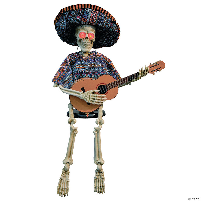 Skeleton Playing Guitar Animated Halloween Decoration