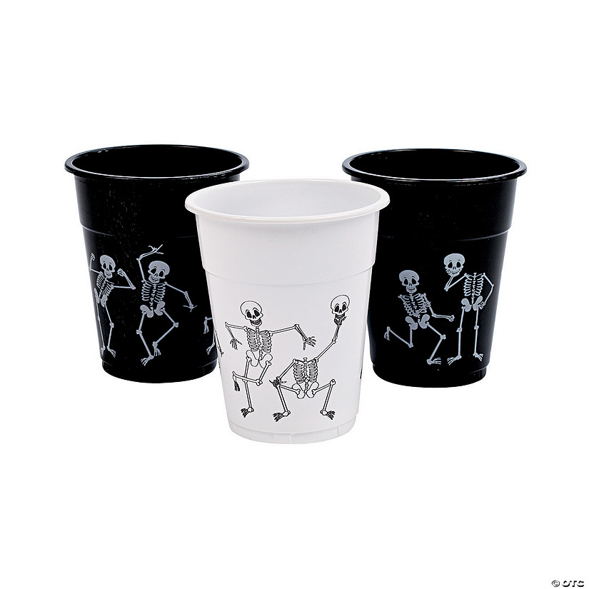 Skeleton Print Plastic Cups