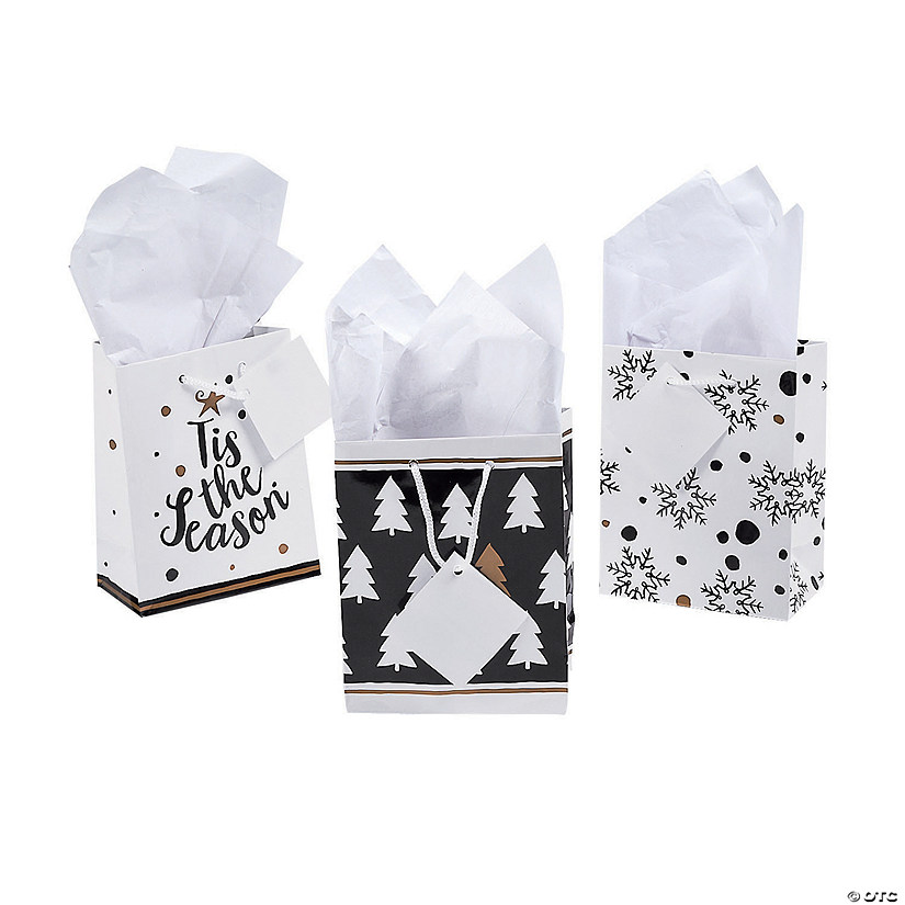 Small Bold Christmas Gift Bags with Tags