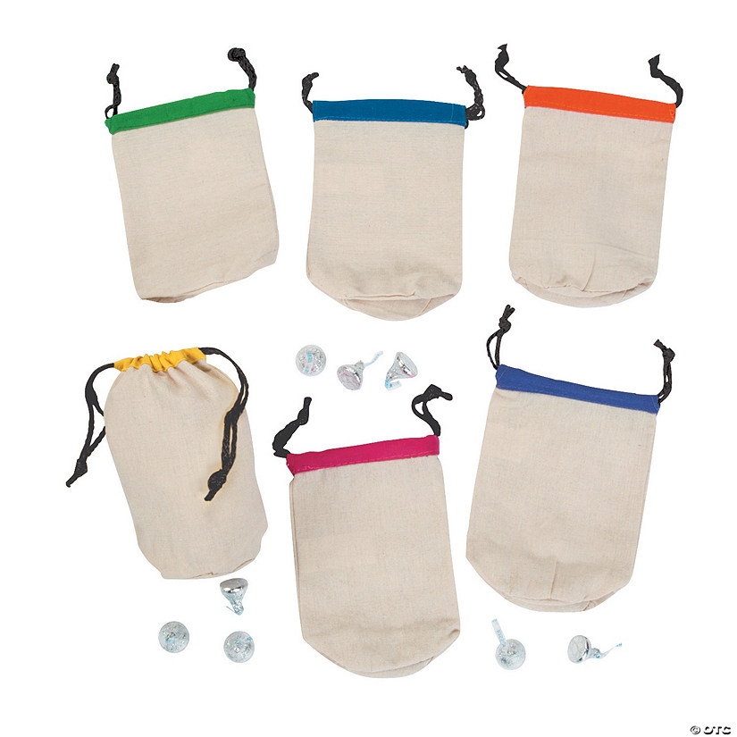 Small Canvas Drawstring Bags with Bright Trim