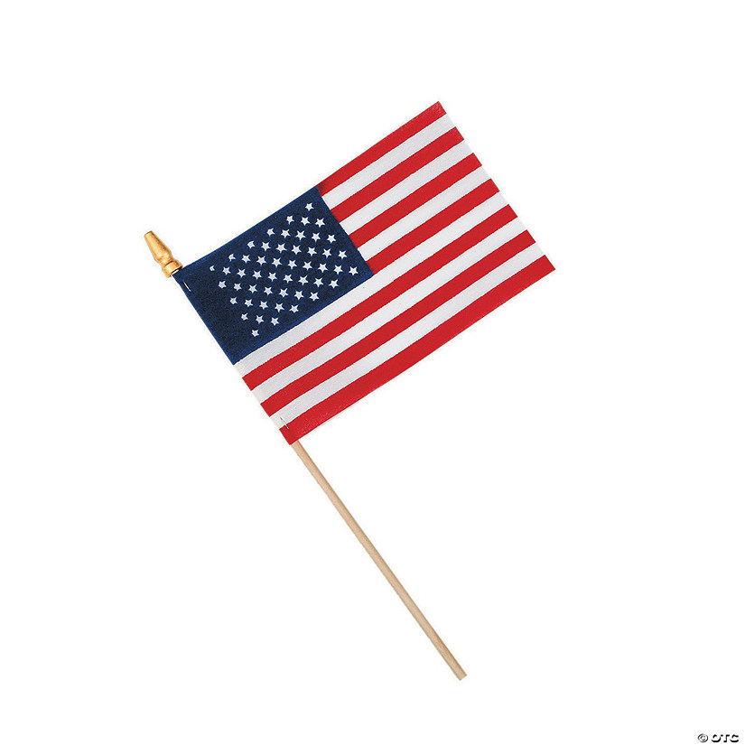 "Small Cloth American Flags on Wooden Sticks - 6"" x 4"""
