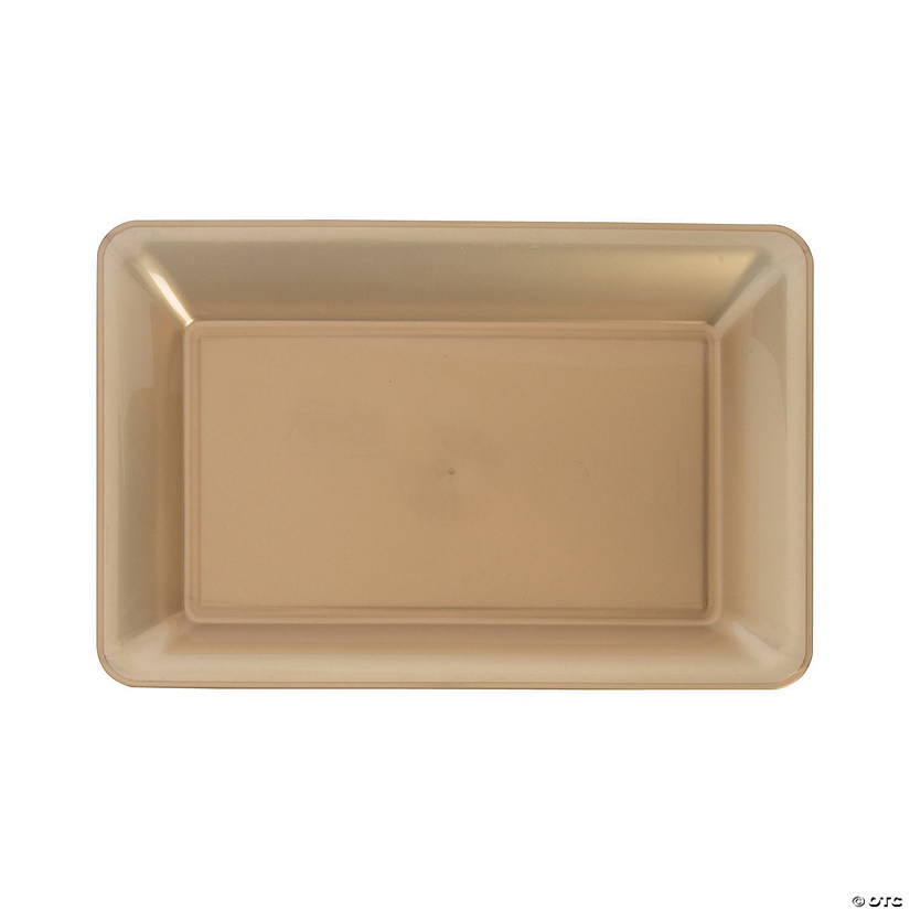 Small Gold Rectangular Plastic Serving Plate