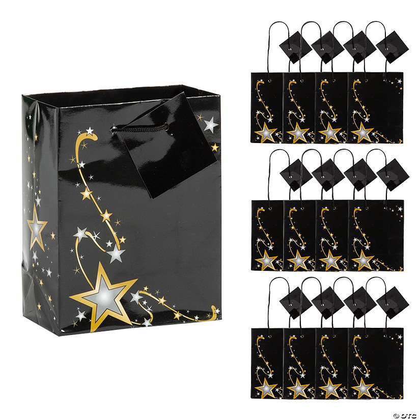Small Gold Star Gift Bags with Tags