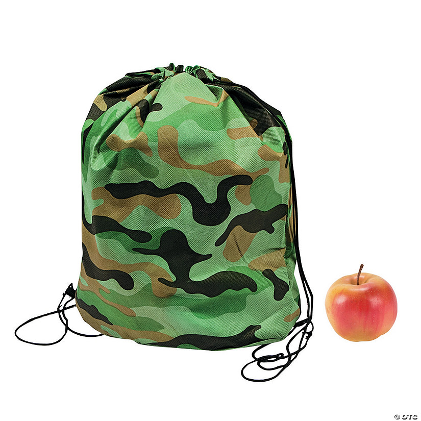 Small Green Camouflage Drawstring Bags