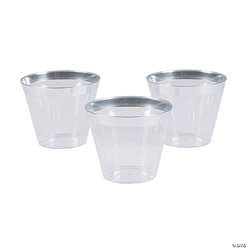 Small Plastic Cups with Silver Trim