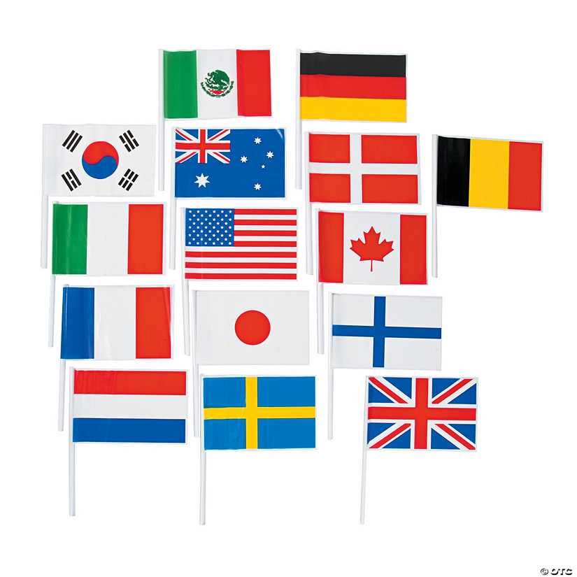 Small Plastic Flags of All Nations Flags