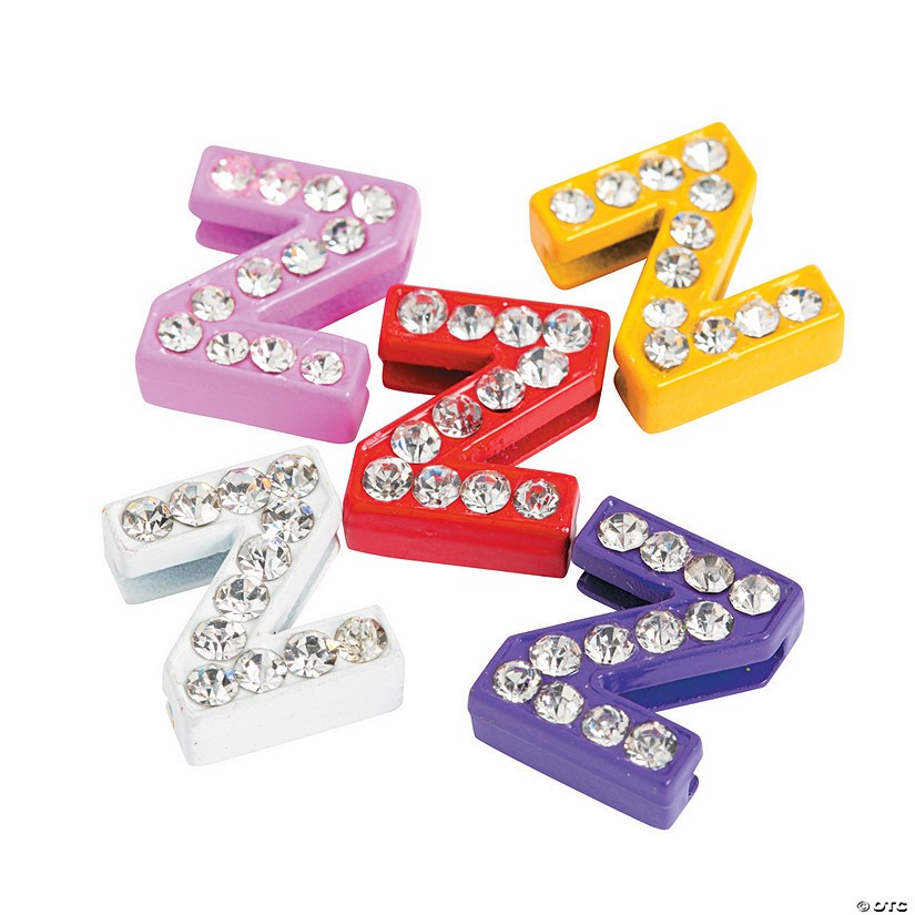 Small Rhinestone Letter Slide Charms - Z