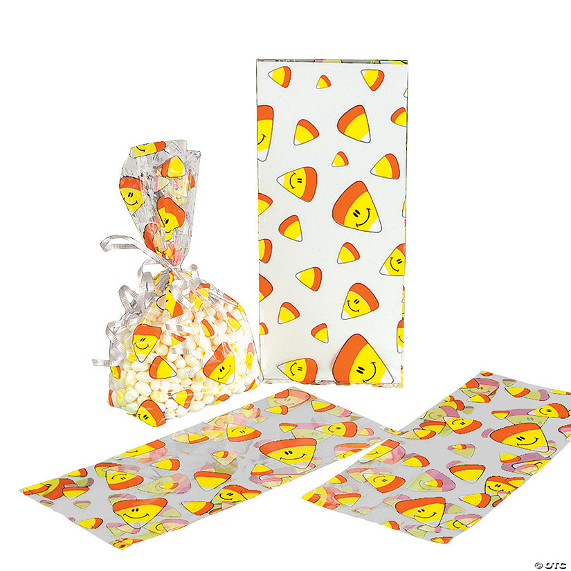 Smile Face Candy Corn Halloween Cellophane Bags