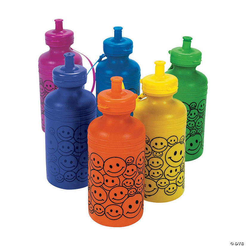 Smile Face Neon Plastic Water Bottles
