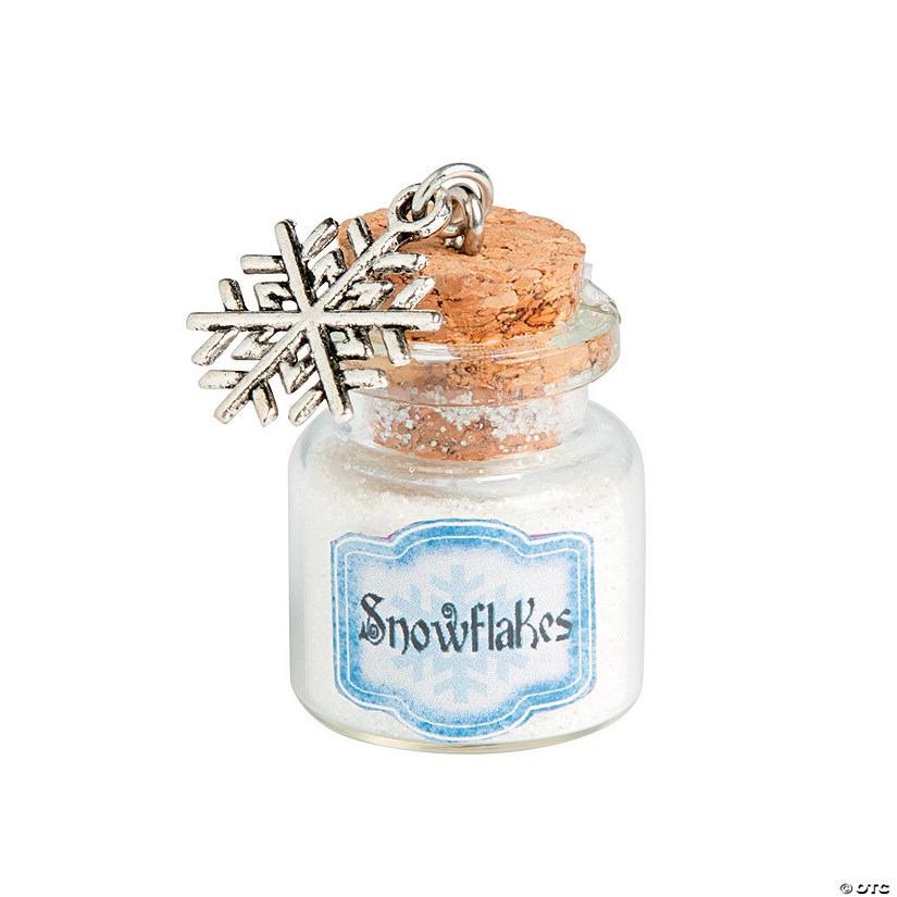 Snowflake Mini Bottle Glass Charms