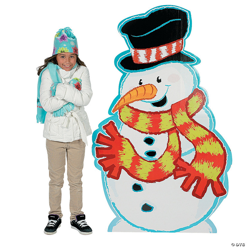 Snowman with Scarf Cardboard Stand-Up