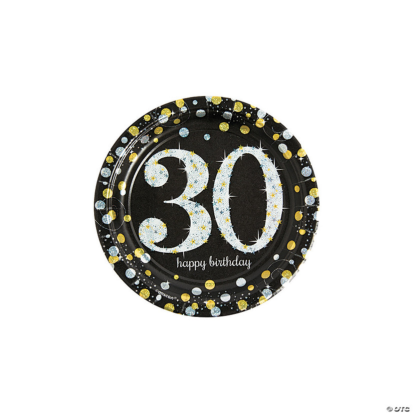 Sparkling Celebration 30th Birthday Paper Dessert Plates