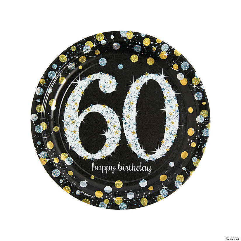 Sparkling Celebration 60th Birthday Paper Dinner Plates