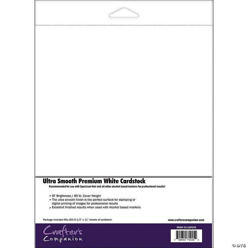 "Spectrum Noir Ultra Smooth Premium Cardstock 8.5""X11"" 50/Pkg, White"