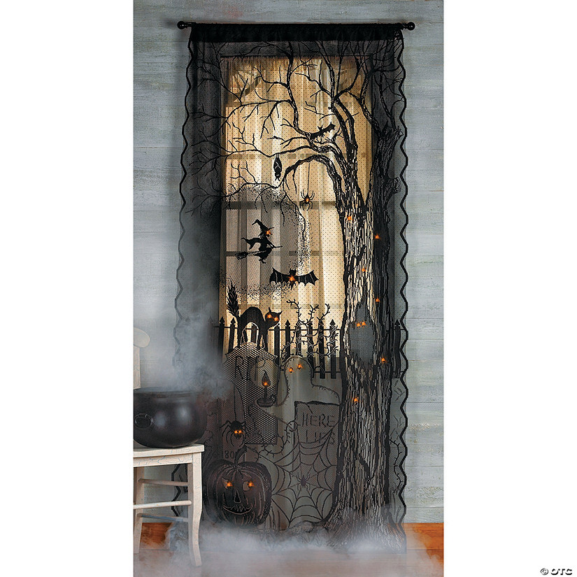 Spooky Lighted Lace Curtain Panel Halloween Décor
