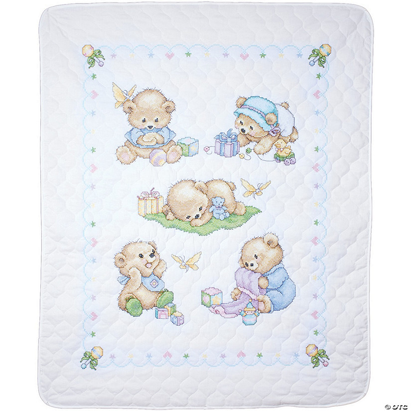 Stamped Quilt Xstitch Kit-Baby Bears