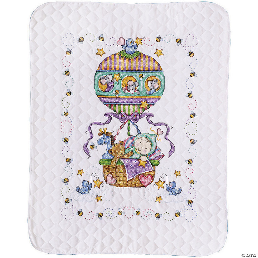 Stamped Quilt Xstitch Kit-Balloon Ride