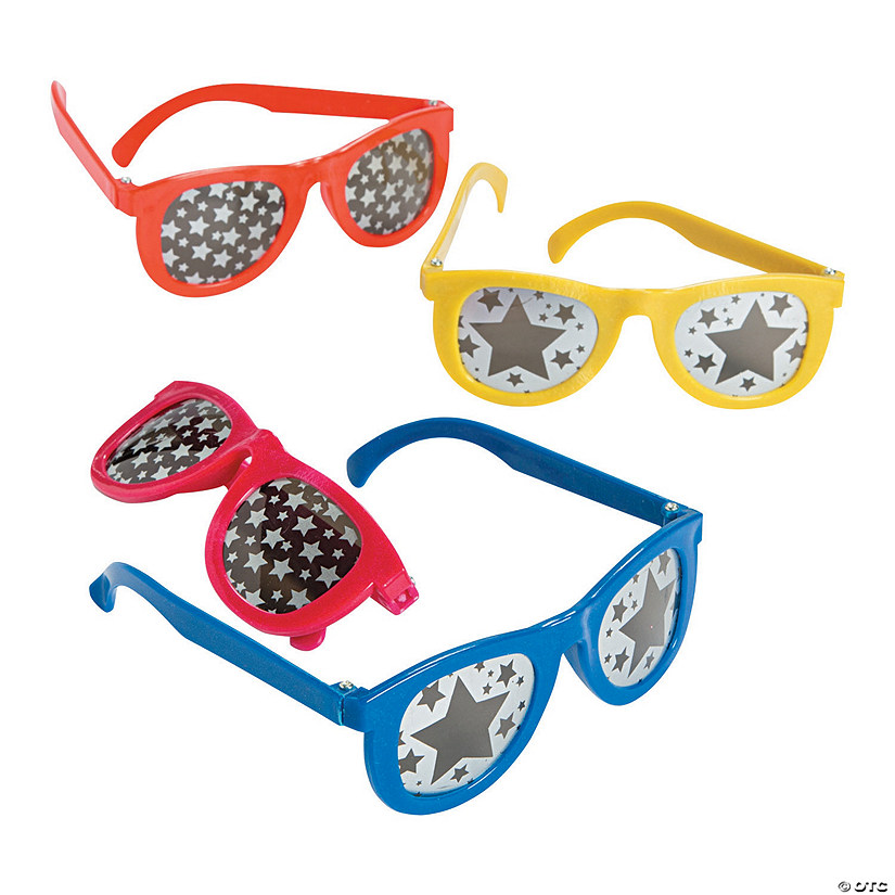 Star Print Mirrored Lens Sunglasses