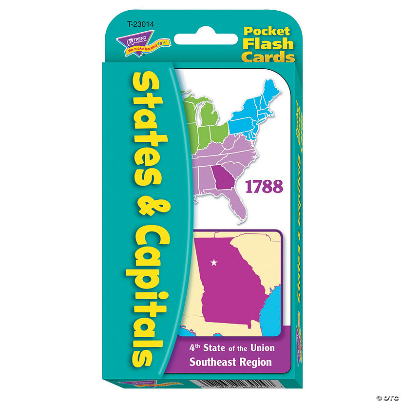 States & Capitals Pocket Flash Cards - 56 cards per pack, 12 packs