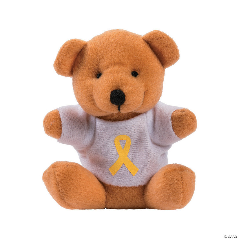 Stuffed Bears with Yellow Awareness Ribbon T-Shirts