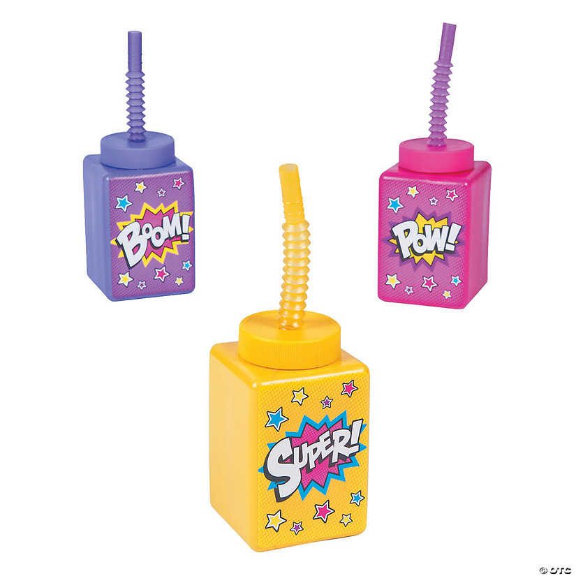 Superhero Girl Cups with Straws