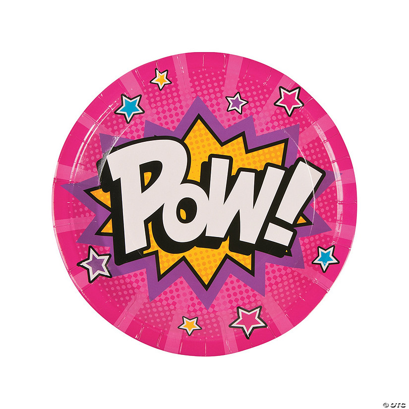 Superhero Girl Paper Dinner Plates