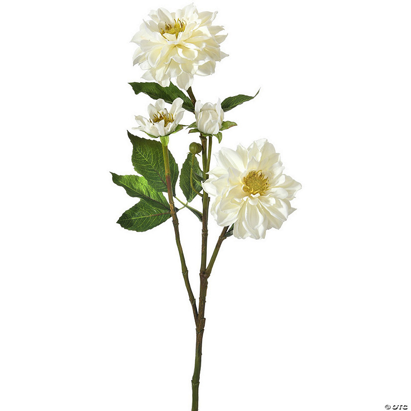 "Teacup Dahlia X2 + 3 Buds 30""-White"