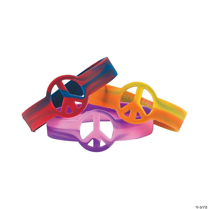 Tie-Dyed Peace Sign Rubber Bracelets