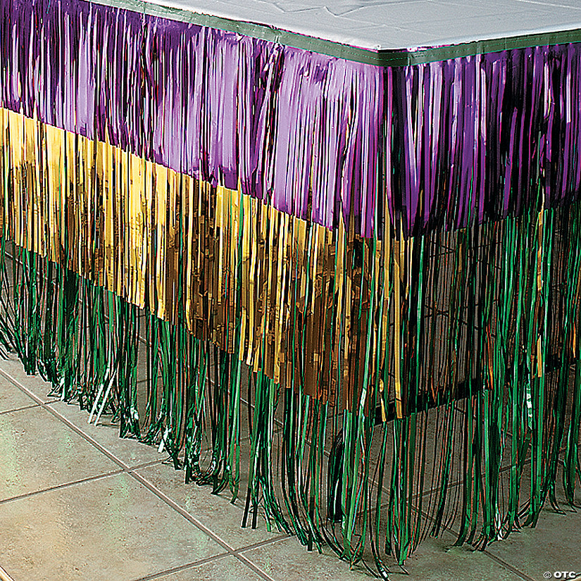 Tri-Color Metallic Fringe Mardi Gras Table Skirt