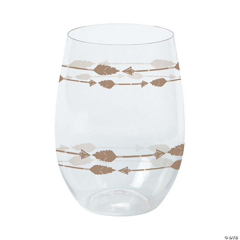 Tribal Baby Shower Stemless Plastic Wine Glasses