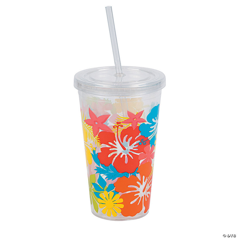 Tropical Tumbler with Lid and Straw
