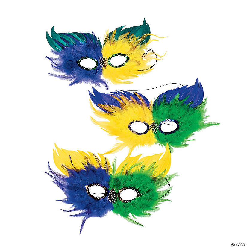 Two-Tone Feather Mardi Gras Half Masks