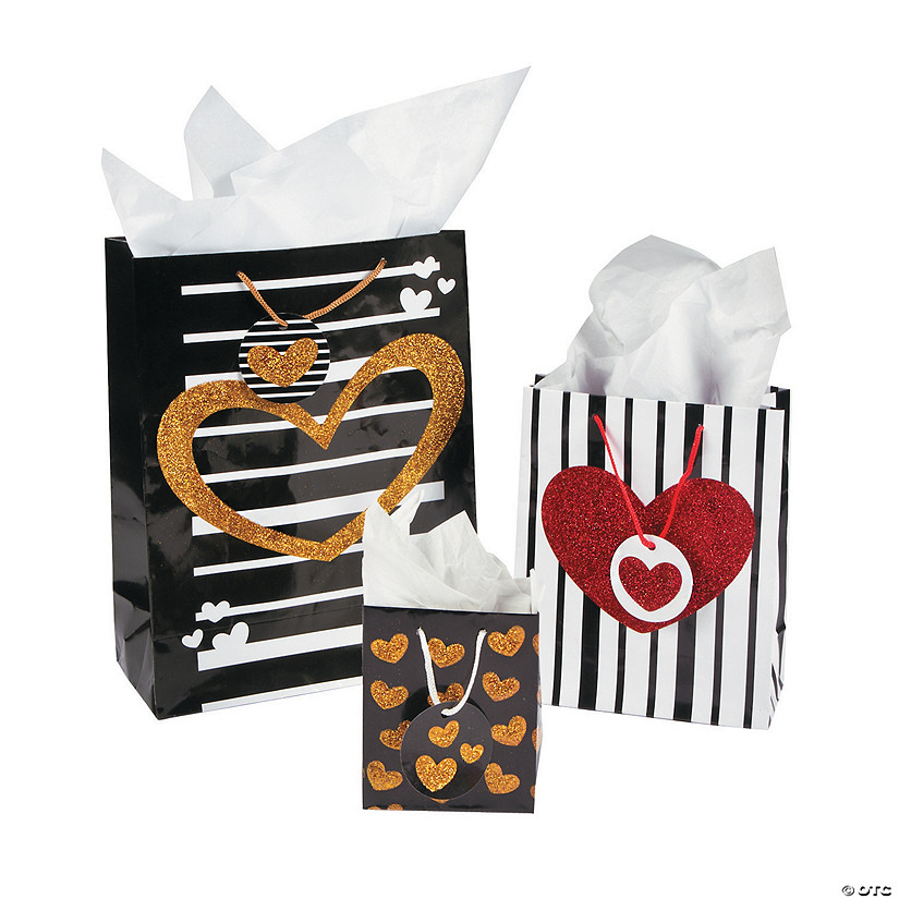Valentine Black & Gold Gift Bags with Tags Assortment